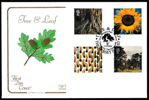 Great Britain First Day Cover, 'Tree and Leaf', Cotswold, King George's Park, Widnes, 01-Aug-2000