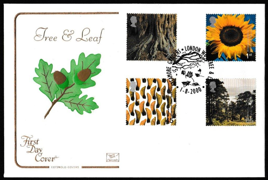 Great Britain First Day Cover, 'Tree and Leaf', Cotswold, Sycamore Gardens, London, 01-Aug-2000