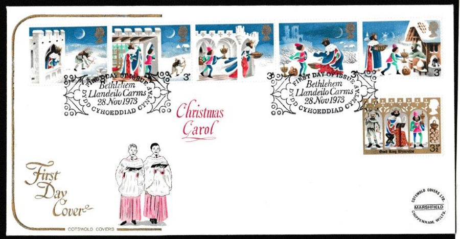Great Britain First Day Cover, 'Christmas 1973', Cotswold, Bethlehem, Llandeilo, 28-Nov-1973