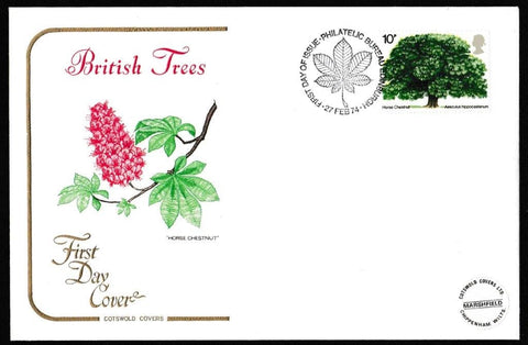 Great Britain First Day Cover, 'British Trees', Cotswold, Philatelic Bureau, Edinburgh, 27-Feb-1974