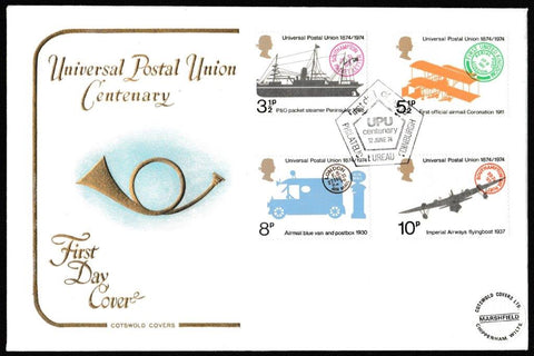 Great Britain First Day Cover, 'Centenary Universal Postal Union', Cotswold, Philatelic Bureau, Edinburgh, 12-Jun-1974
