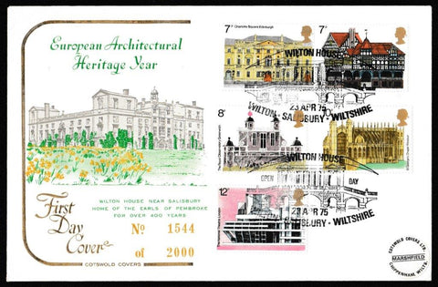 Great Britain First Day Cover, 'European Architectural Heritage Year', Cotswold, Wilton House, Salisbury, 23-Apr-1975