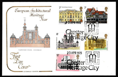 Great Britain First Day Cover, 'European Architectural Heritage Year', Cotswold, Chester Heritage City, 23-Apr-1975