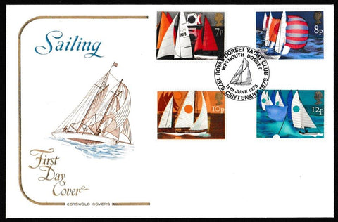 Great Britain First Day Cover, 'Sailing Centenaries', Cotswold, Royal Dorset Yacht Club, Weymouth, Dorset, 11-Jun-1975