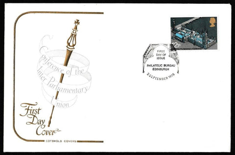 Great Britain First Day Cover, 'Inter-Parliamentary Union Conference', Cotswold, Philatelic Bureau, Edinburgh, 03-Sep-1975