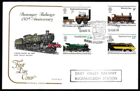 Great Britain First Day Cover, '150th Anniversary of Public Railways', Cotswold, Return of Steam, Buckfastleigh, Devon, 13-Aug-1975