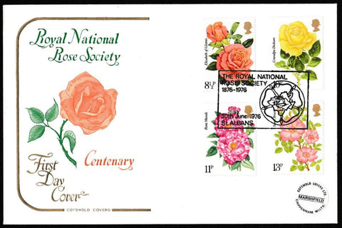 Great Britain First Day Cover, 'Centenary of Royal National Rose Society', Cotswold, Royal National Rose Society, St. Albans, 30-Jun-1976