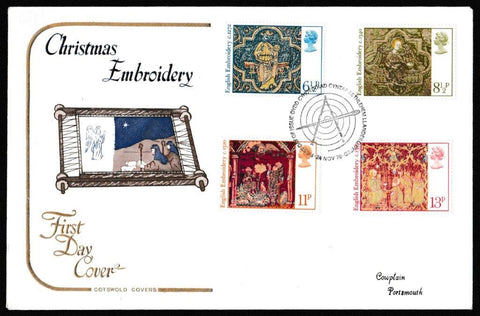 Great Britain First Day Cover, 'Christmas 1976', Cotswold, Welsh/English Bethlehem Llandeilo FDI Handstamp, 24-Nov-1976