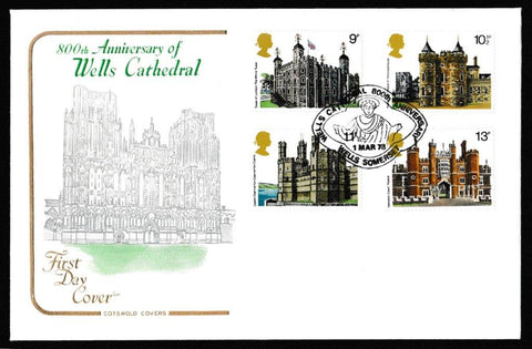 Great Britain First Day Cover, 'British Architecture - Historic Buildings', Cotswold, Wells Cathedral 800 Yrs, Wells, Somerset, 01-Mar-1978