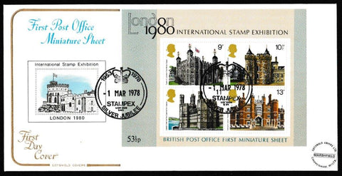 Great Britain First Day Cover, 'British Architecture - Miniature Sheet - London 1980', Cotswold, Stampex Silver Jubilee, London, 01-Mar-1978