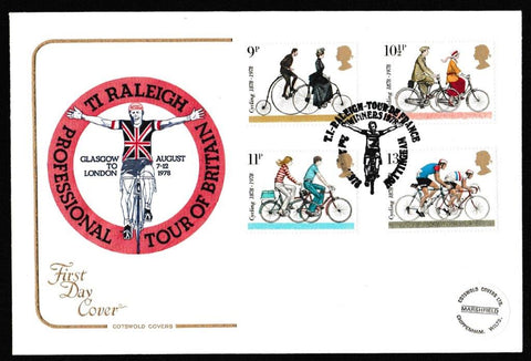 Great Britain First Day Cover, 'Cycling Centenaries', Cotswold, TI Raleigh, Tour De France, Nottingham, 02-Aug-1978