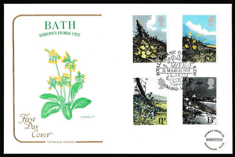 Great Britain First Day Cover, 'British Spring Flowers', Cotswold, Royal Botanic Gardens, Kew, Richmond, Surrey, 21-Mar-1979