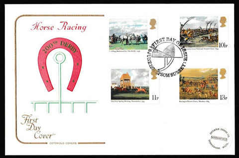 Great Britain First Day Cover, 'Horse Racing - Derby Bicentenary', Cotswold, Epsom, Surrey, 06-Jun-1979