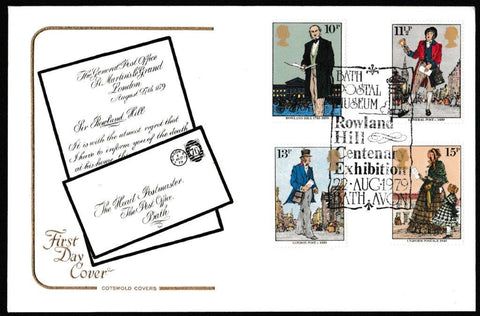 Great Britain First Day Cover, 'Centenary of the Death of Sir Rowland Hill', Cotswold, Rowland Hill Centenary Exhibition, Bath Postal Museum, 22-Aug-1979