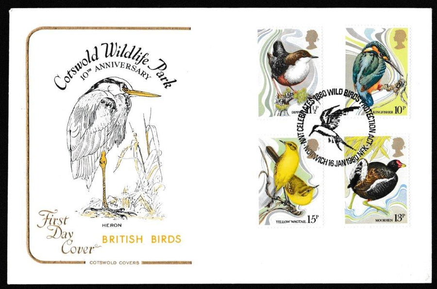 Great Britain First Day Cover, 'British Birds', Cotswold, NNT Celebrates 1880 Wild Birds Protection, Norwich, 16-Jan-1980