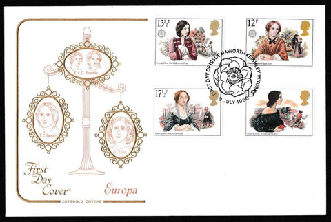 Great Britain First Day Cover, 'Famous Women Novelists', Cotswold, Haworth, Keighley, W. Yorks, 09-Jul-1980