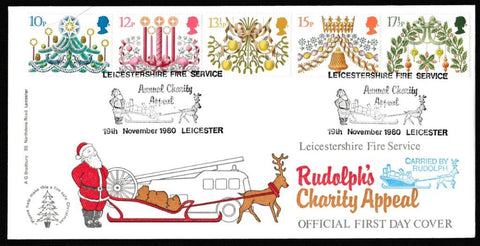 Great Britain First Day Cover, 'Christmas 1980', Bradbury, Leicestershire Fire Service, Leicester, 19-Nov-1980