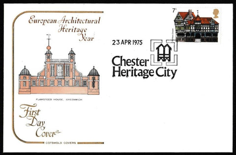 Great Britain First Day Cover, 'European Architectural Heritage Year - 5 Cover Set', Cotswold, Various, 23-Apr-1975