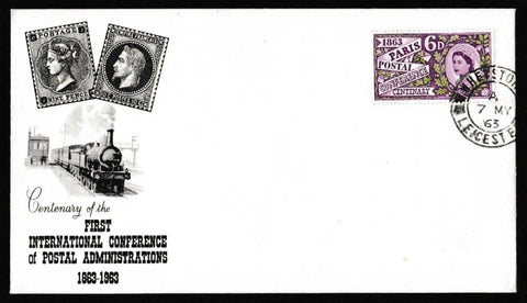Great Britain First Day Cover, 'Paris Postal Conference Centenary', PTS/BPA, Heyston, Leicester, 07-May-1963