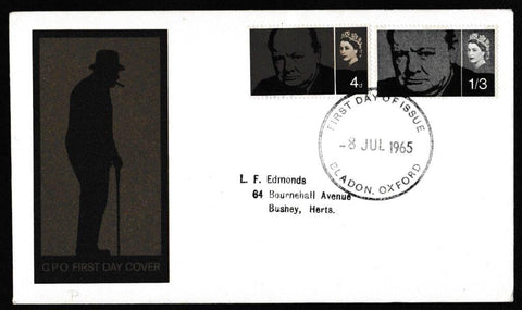 Great Britain First Day Cover, 'Sir Winston Churchill Commemoration', Royal Mail, Bladon, Oxford, 08-Jul-1965
