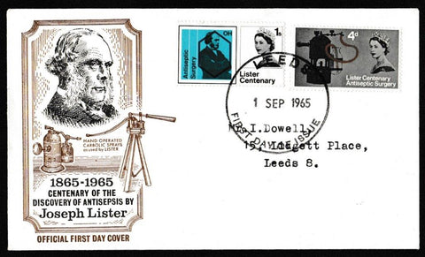 Great Britain First Day Cover, 'Centenary of Listers Discovery of Antiseptic Surgery', Official, Leeds, 01-Sep-1965