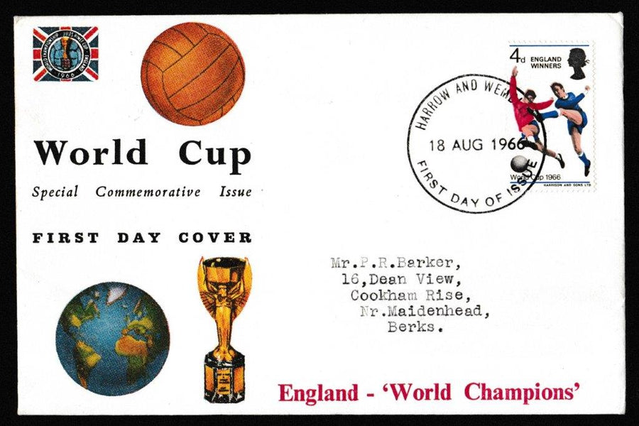 Great Britain First Day Cover, 'World Cup Football - England Winners', Connoiseur, Harrow and Wembley, 18-Aug-1966