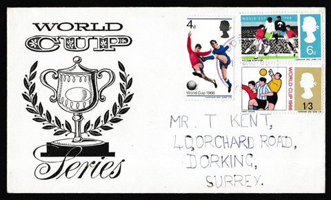 Great Britain First Day Cover, 'World Cup Football Competition', Unknown, Dorking, Surrey, 01-Jun-1966