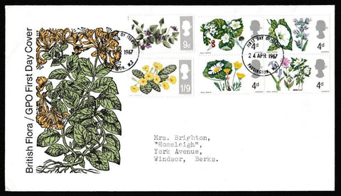 Great Britain First Day Cover, 'British Wild Flowers', Royal Mail, Paddington, W2, 24-Apr-1967
