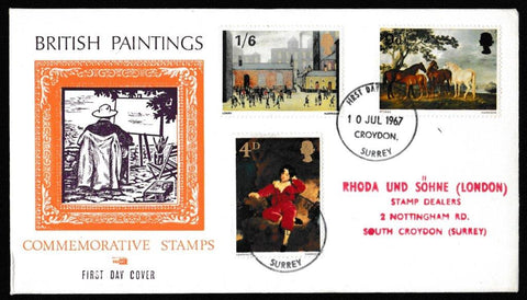 Great Britain First Day Cover, 'British Painters', Philart, Croydon, Surrey, 10-Jul-1967