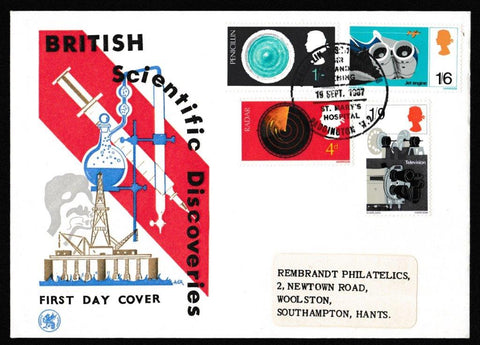 Great Britain First Day Cover, 'British Discovery and Invention', Wessex, Penicillin Discovered, Paddington, W2, 19-Sep-1967