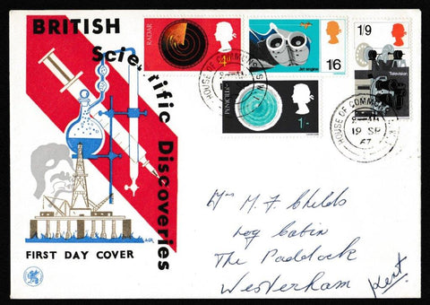 Great Britain First Day Cover, 'British Discovery and Invention', Wessex, House of Commons, London, SW1, 19-Sep-1967