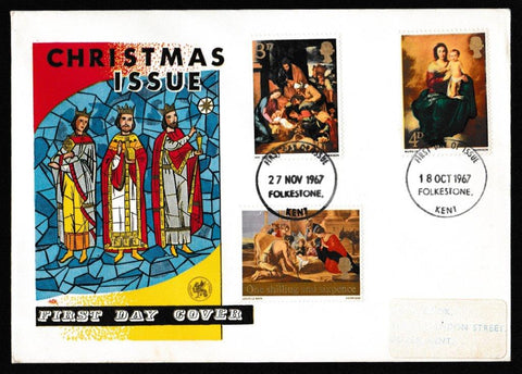 Great Britain First Day Cover, 'Christmas 1967', Wessex, Folkestone, Kent, 27-Nov-1967
