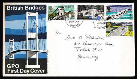 Great Britain First Day Cover, 'British Bridges', Royal Mail, Bradford, Yorkshire, 29-Apr-1968