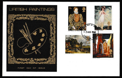 Great Britain First Day Cover, 'British Paintings', Thames Gold Embossed, London, 12-Aug-1968
