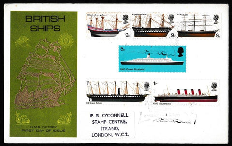 Great Britain First Day Cover, 'British Ships', Thames Gold Embossed, Cutty Sark Stamp Day, Greenwich, 15-Jan-1969