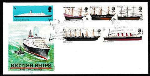 Great Britain First Day Cover, 'British Ships', Philart, Cutty Sark Stamp Day, Greenwich, 15-Jan-1969