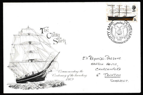 Great Britain Commemorative Cover, 'Centenary of the launch of the Cutty Sark', Official, Cutty Sark Centenary, Greenwich, 22-Nov-1969