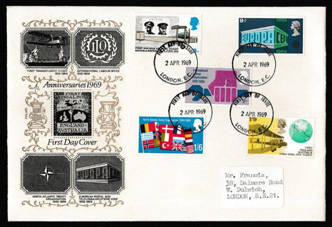 Great Britain First Day Cover, 'Notable Anniversaries', Philart, London, EC, 02-Apr-1969