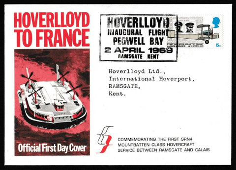 Great Britain First Day Cover, 'Notable Anniversaries', Official, Hoverlloyd, Ramsgate, Kent, 02-Apr-1969