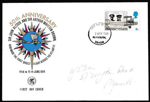 Great Britain First Day Cover, 'Notable Anniversaries', Wessex, Plymouth, Devon, 02-Apr-1969