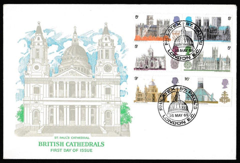 Great Britain First Day Cover, 'British Cathedrals', Cameo, Philatex St. Pauls, London EC, 28-May-1969