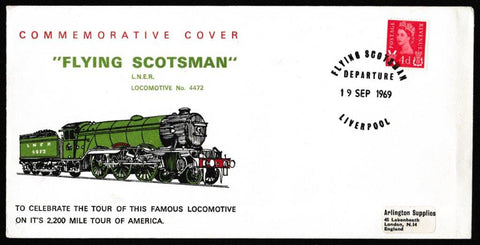 Great Britain Commemorative Cover, 'Flying Scotsman Tour of America', Arlington, Flying Scotsman Departure, Liverpol, 19-Sep-1969