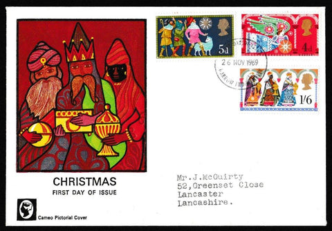 Great Britain First Day Cover, 'Christmas 1969', Cameo, Harrow & Wembley, 26-Nov-1969