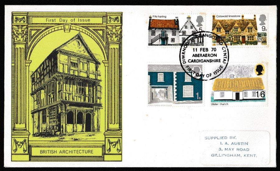 Great Britain First Day Cover, 'British Rural Architecture', Thames Gold Embossed, Aberaeron, Cardiganshire, 11-Feb-1970