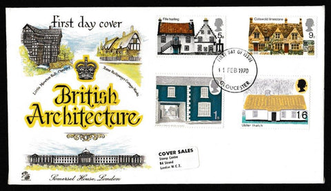Great Britain First Day Cover, 'British Rural Architecture', Sovereign, Gloucester, 11-Feb-1970