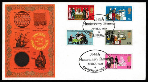 Great Britain First Day Cover, 'General Anniversaries', Thames Gold Embossed, British Anniversary Stamps, Canterbury, Kent, 01-Apr-1970