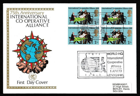 Great Britain First Day Cover, 'General Anniversaries', Wessex, International Co-operative Alliance, 01-Apr-1970