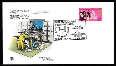 Great Britain First Day Cover, 'General Anniversaries', Stuart, Sir William Herschel, Slough, Bucks, 01-Apr-1970