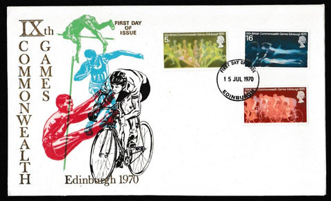 Great Britain First Day Cover, '9th British Commonwealth Games - Edinburgh', Thames Gold Embossed, Edinburgh, 15-Jul-1970
