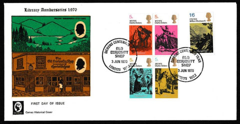 Great Britain First Day Cover, 'Literary Anniversaries', Cameo, Old Curiosity Shop, London, WC2, 03-Jun-1970